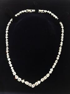Swarovski Crystal Tennis Deluxe Mixed V Necklace, White, Rhodium Plated 5556917