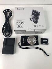Canon IXUS 185 20.0MP Digital Camera 8x Optical Zoom Black w /Extras