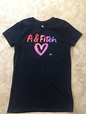 Abercrombie And Fitch Hollister Kids Navy Blue Heart Tshirt Age 15-16 Girls