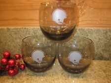 Vintage Set of 3 Cleveland Browns Glasses Roly Poly8 oz.  Smoke Gray NFL 1970s