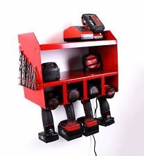 RED Milwaukee Drill Driver Battery Tool Rack Shelving Storage Workshop Organiser