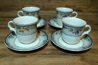 SET OF 4 - MIKASA - COUNTRY CLASSIC HARVEST - COFFEE MUGS CUPS & SAUCERS - DC313