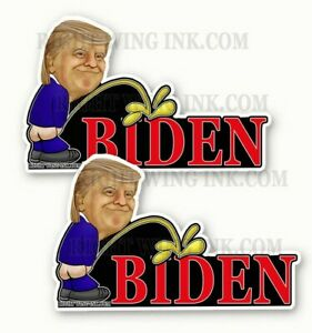 "Trump Peeing On Biden Bumper Sticker Decal anti Feminist Pro Trump 2pack 5"" wide"