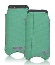 For Apple iPhone 4 Aqua Green Canvas Pouch Sleeve NueVue Screen Cleaning Case