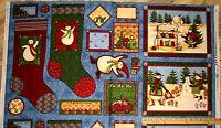 "Debbie Mumm Artic Holiday Snowman Christmas Stockings Tags Panel Fabric 23"""