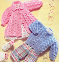 "Vintage Textured Baby Matinee Coat & Cardigan DK Knitting Pattern 14"" - 20"""