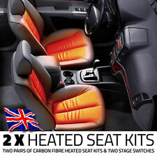 2x CARBON FIBRE HEATED ELEMENT SEAT KITS PADS & PAIR OF TWO STAGE SWITCHES
