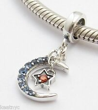 MOON w RED STAR DANGLE CHARM Bead Sterling Silver.925 for European Bracelets 719