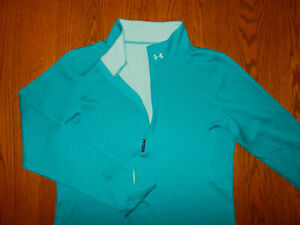 UNDER ARMOUR 1/2 ZIP LONG SLEEVE AQUA BLUE ATHELTIC TOP WOMENS MEDIUM EXCELLENT