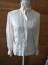 OPTIONS AT AUSTIN REED IVORY SILK BLOUSE WITH FRILLED COLLAR AND CUFFS - SIZE 8