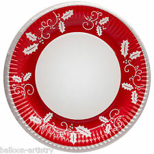 8 Christmas Party Red Holly Style Large 23cm Disposable Paper Plates