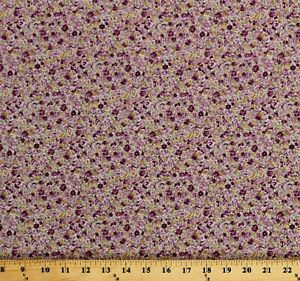 Cotton Lawn Sevenberry Lilac Purple Gold Small Floral Fabric by the Yard D176.21