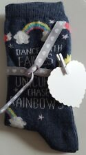 Unicorn Rainbow Socks with ribbon & a cute peg gift tag. A perfect gift!