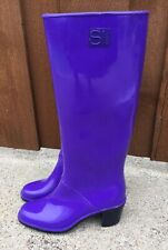 Sergio Rossi Rain Boots Heels Water Shoes Purple size 37 / 6.5 US RARE Italy