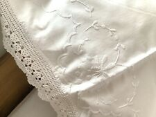 More details for vintage white linen & lace pillowcase embroidered flowers