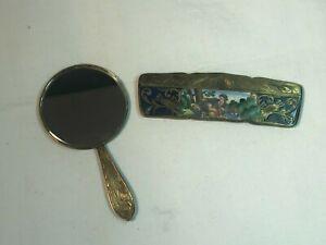 2pc Italian 800 Silver & Enamel Compact Vanity Set - Mirror and Comb w/Case .