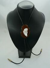 Clear Quartz Crystal Cluster on Agate Slab Bolo Tie with Gold Colored Tips