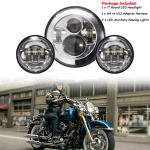 """7"""" LED Headlight + Passing Lights For Motorcycle Fatboy Heritage Softail Deluxe"""