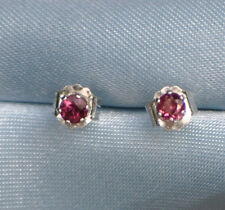 HANDCRAFTED 3.0-3.6MM  ROUND NATURAL RED/ORANGE SAPPHIRE STERLING STUDS