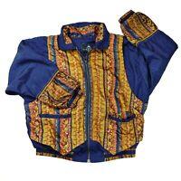 Vintage 80s 90s Casual Isle Windbreaker Track Jacket Womens Large Paisley Lined