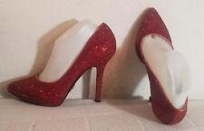 Nine West Love Fury Wmn sz 9.5M Red Sparkle Pumps Heels Shoes Pointed Toe