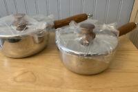 Lot Of 2 Vintage Mirro Aluminum Cooking Pot Sauce Pan Wood Handle NEW 1.5 & 1 Qt