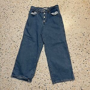 Levis Jeans Womens Size 30 Blue Mile High Cropped Wide Leg Pants Denim Logo
