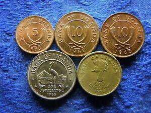UGANDA 5 CENTS 1966AU, 10 CENTS 1966, 1968, 1 SHILLING 1966AU, 500 SHILLING 1998