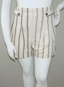Gilli Striped Linen Blend High Waist Shorts Beige Brown Plus 0X 1X 2X 3X - New!