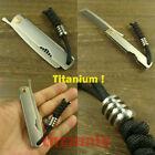 Titanium Ti Folding Comb Unisex Outdoor EDC static-free with Lanyard bead H537