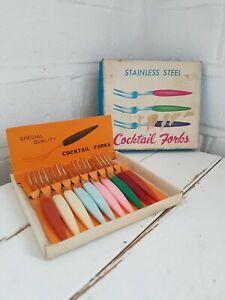 Vintage Boxed Set Little Forks 1950s 60s Cocktail Forks Rare Kitsch Kitchenalia