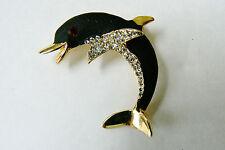 Vintage Black enamel Red Eye Clear crystal Dolphin Pin Brooch
