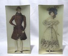 Kaas Glassworks Plate Hand Signed ART Plate dish Victorian lady, man set