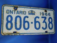 ONTARIO LICENSE PLATE 1966 806 638 VINTAGE CROWN CANADA SHOP GARAGE SIGN