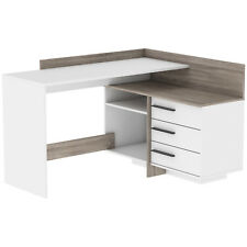 Schreibtisch Eck-Schreibtisch EICHE weiß Computertisch Eckschreibtisch PC-Tisch