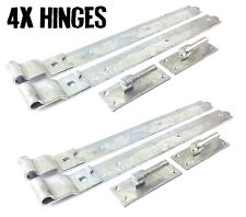 "4x Gate Hinges Cranked 450mm 18"" Pair Galvanised Heavy Duty Hook And Band Stable"