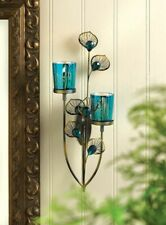 Peacock Plume Wall Sconce with Two Blue Peacock Pattern Glass Candle Cups