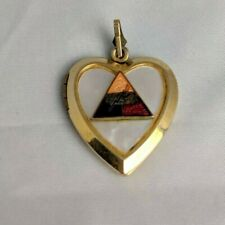 Vintage Pearl Inlay Gold Filed Heart Pendant Armored Division Sweetheart WWII