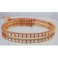 6.50CT ct round cut Rose gold 14k diamond tennis bracelet CERTIFIED F-G VS1