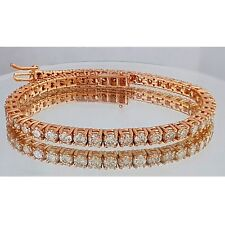 8CT ct round cut Rose gold 14k diamond tennis bracelet CERTIFIED F-G VS1