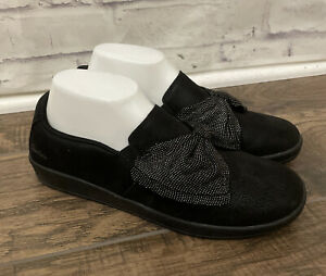 SKECHERS JERSEY BOW SLIDE ON SHOES MADISON AVENUE MY TOWN SZ 8 Black