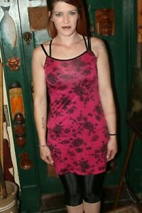 Pink With Black Roses Chemise Lingerie Top Camisole