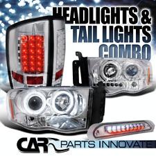 02-05 Ram 1500 Chrome Halo Projector Headlights+LED Tail Lamps+3rd Brake Light
