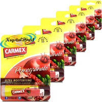 6x Carmex Pomegranate Click Stick Moisturising Dry & Chapped Lip Balm With SPF15