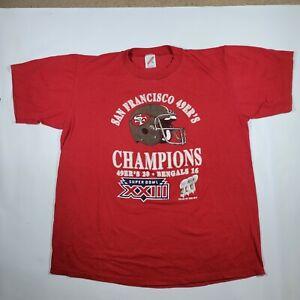 Vintage 1988 San Francisco 49ers Super Bowl XXIII Champions RED Shirt SIZE XL 46