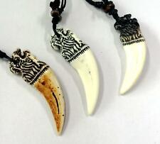 12 Hand Tribal Carved Chinese Dragon Head Tooth Pendant Necklace