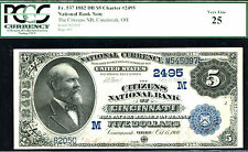 1882, $5 Fr#537 Nbn 2nd Ch Date Back, Cincinnati, Oh, #2495-Pcgs 25