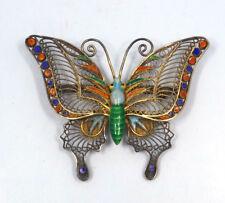 Vintage Chinese Silver Filigree Ornate Enamel Butterfly Brooch, 10.9g