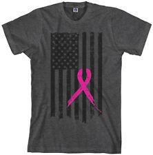 Pink Ribbon Breast Cancer Awareness Flag Men's T-Shirt