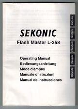 SEKONIC 358 LIGHT METER INSTRUCTION (ORIGINAL PRINT JAPAN/not copies)